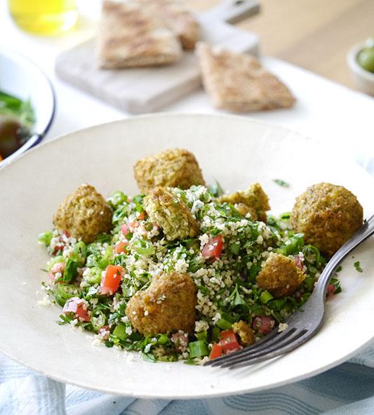 Florentin Tabouleh salad with falafel balls